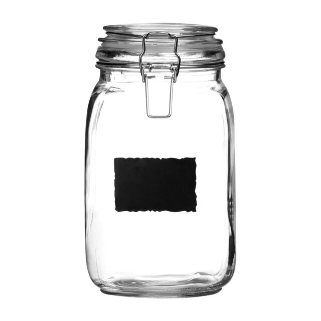 Clear Glass Deli Airtight Clip Top Vintage Storage Jars Pots With Chalk Board