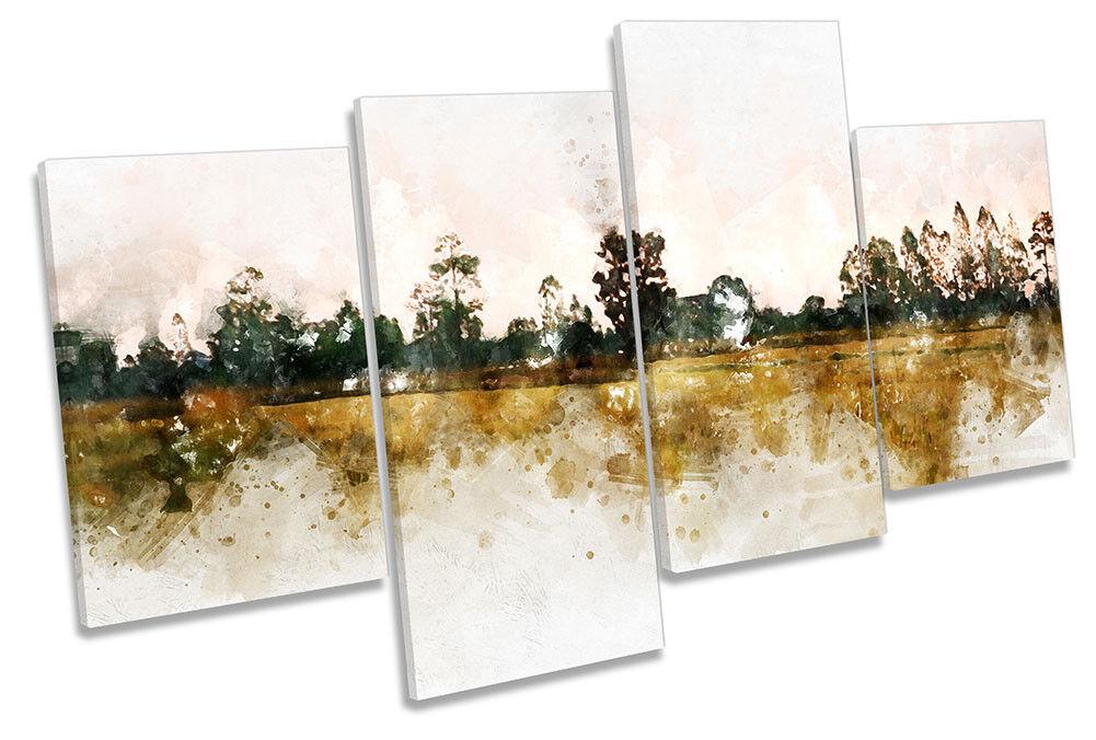 Pared De ilustraciones Lona Marrón paisaje Grunge MULTI ilustraciones De impresión arte b4c5b8