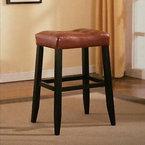 Image Is Loading Red Leather Saddle Bar Stool 29 034 H