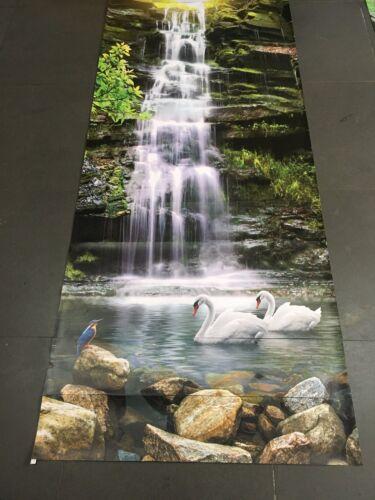 3D Waterfall Swans Stair Risers Decoration Photo Mural Vinyl Decal Wallpaper AU