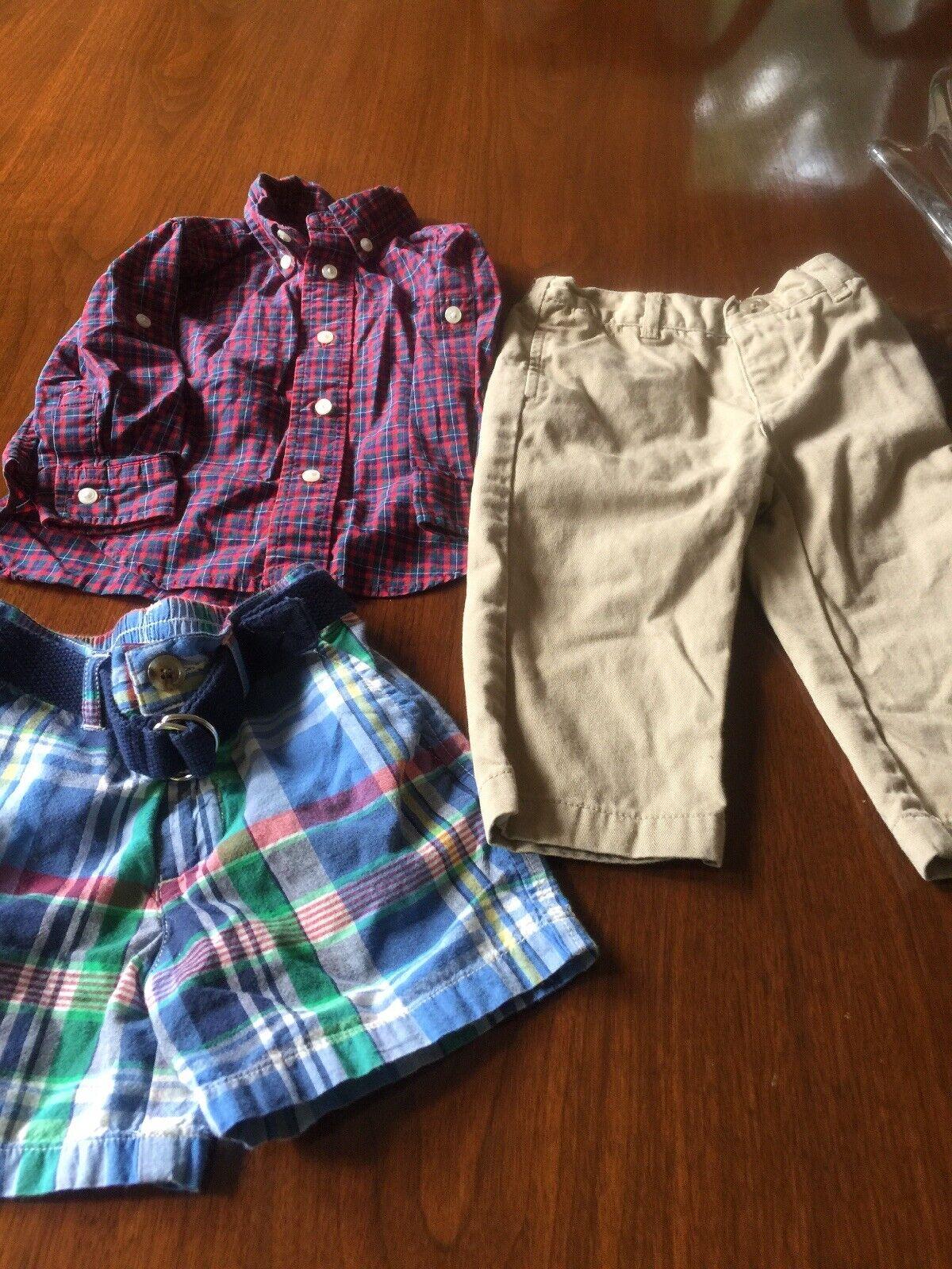 NWT Ralph Lauren Baby Boys Buffalo Plaid Shirt /& Cargo Shorts Set