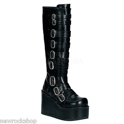 "DEMONIA CONCORD-108 4 1/4""Ladies Boot Goth Punk Lolita GoGo Buckled P/F Blk Pu"