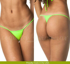 058c5aed3f7 Image is loading Coqueta-Neon-Green-MICRO-Thong-Bottom-Bikini-Brazilian-
