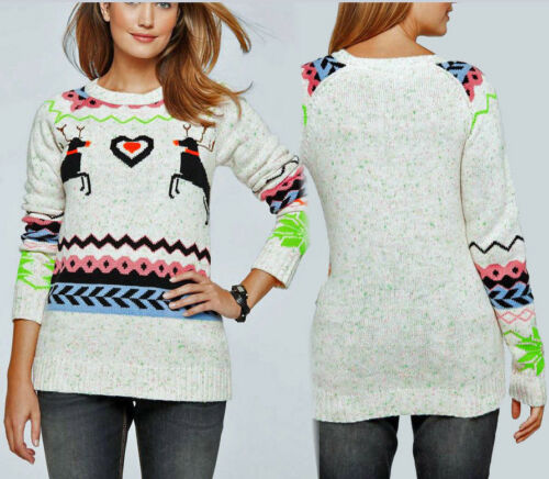 Casual Long Pullover nel norvegesi-Look Mis 48 50 Wollweiß 933246 nuovi da donna moda