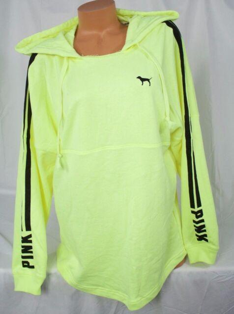 "Victoria's Secret PINK sz M~Varsity Hoodie~Tunic Neon Yellow, Black ""PINK"" logo"