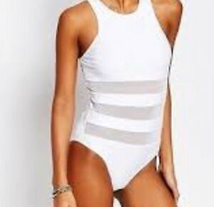 c3919160dd0 Image is loading South-Beach-White-Mesh-Panel-High-Neck-Swimsuit-