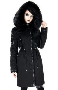 Gothic Fur Jacket Winter Coat Occult Punk Hooded Heks Parka Moon Restyle Black ExTqwRSZ
