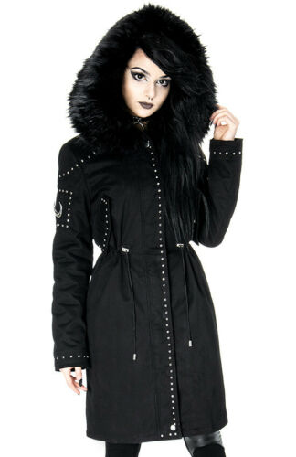 Restyle Moon Parka Gothic Punk Witch Occult Fur Hooded Winter Black Jacket Coat