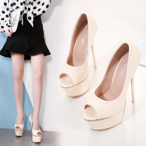 6.6/'/' High Heels Women Nightclub Peep Toe Platform Stilettos Party Shoes Slip On