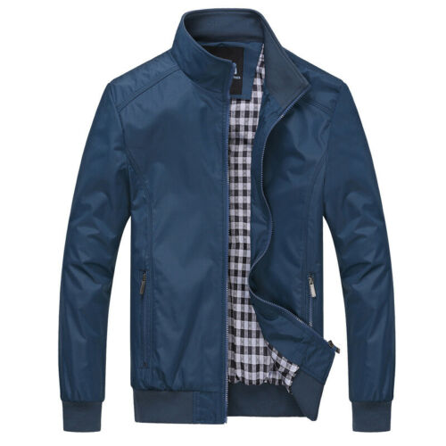 Mens Jacket Summer Lightweight Bomber Coat Casual Outfit Tops Outerwear M-3XL