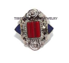 Adjustable Lapis Ring Coral ring Gypsy ring Tibetan ring Tibet Ring RB25