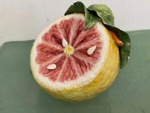 Katherine-Houston-Porcelain-Art-Pink-Grapefruit-Fruit-Sculpture-Signed-Majolica