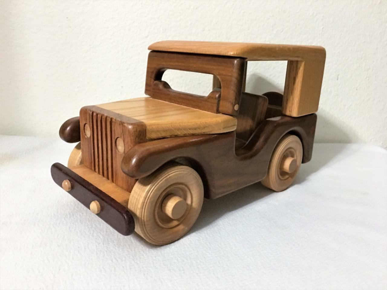 QUALITY HAND CRAFTED ALL WOOD TOY JEEP NO SCREWS OR NAILS 11 X 6  BY J. CORBITT