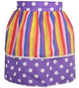 Ladies-Purple-amp-White-Polka-dot-Pinafore-With-Multicoloured-V-Stripe-Apron