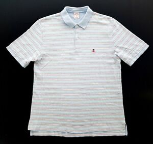 Brooks-Brothers-Blue-Pink-Green-Striped-Cotton-Polo-Mens-Size-Large-Shirt-Rugby