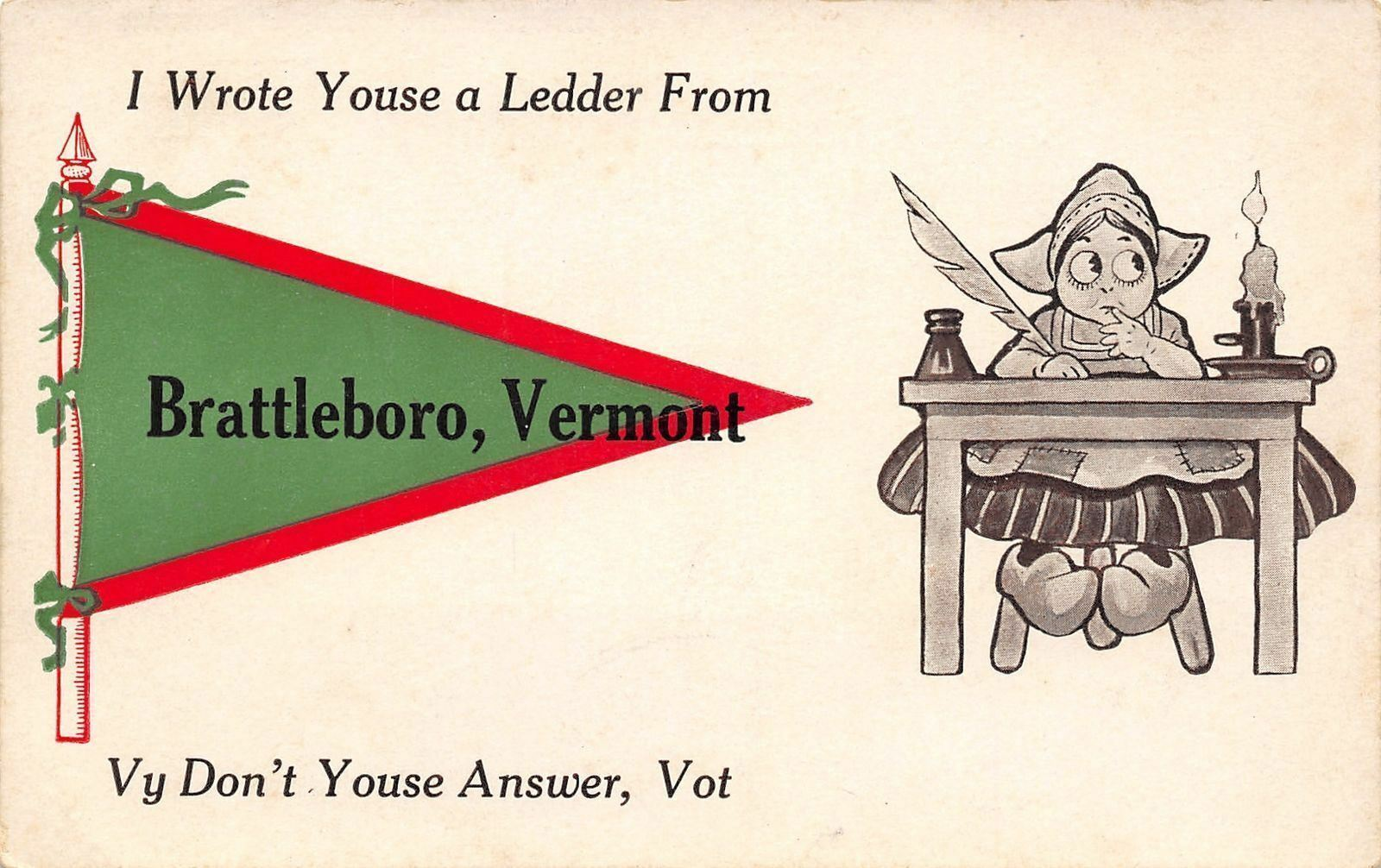 I Wrote You a Ledder From Brattleboro Vermont~Girl at Desk~Candle~1913 Pennant