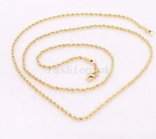 Unisex 18K Yellow Gold Plated Twist Rope Chain Necklace 45cm 2mm Lobster Clasp