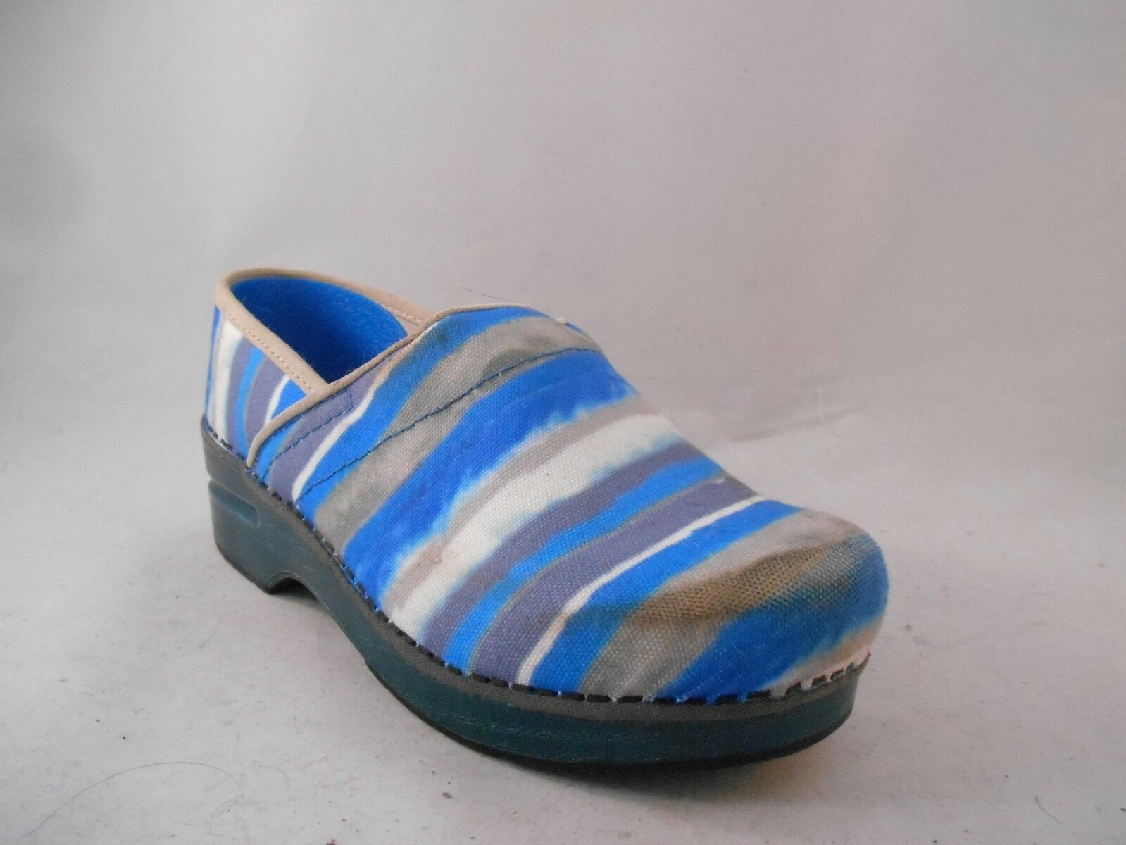 Dansko bluee Watercolor Stripe Canvas shoes Clogs Wmn's 36 EU   5.5 - 6 US