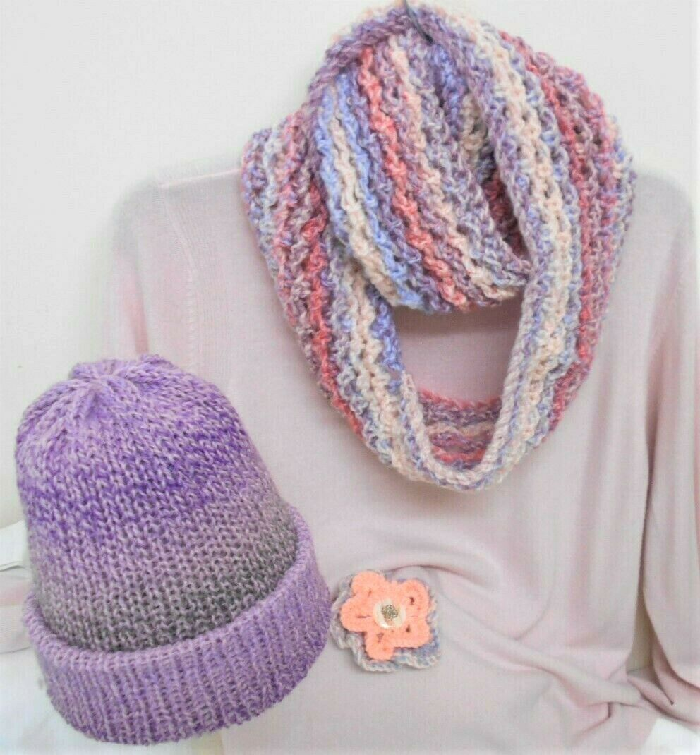 Knitted infinity Scarf, Hat, Brooch in Pretty Pastels, Handmade