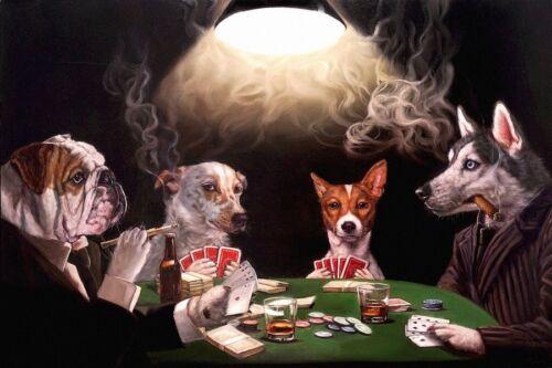 Cigar Print 14x11 The Bluff by Lucia Heffernan Dogs Poker