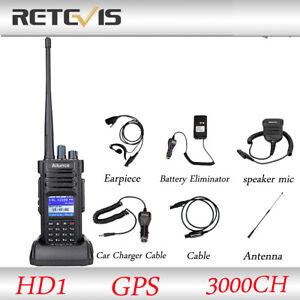 Ailunce HD1 IP67 GPS 3000CH UHF+VHF 10W Alarm Walkie Talkies+Earpiece+MIC+Cable