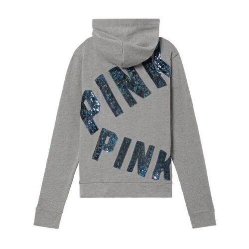 à Victoria's à parfait New sequins gris bling Bling clair capuche SecretSweat wvy0OnN8m