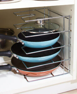 Chrome-Skillet-amp-Lid-Organizer-Rack-Pot-Pan-Storage-Holder-Kitchen-Organization