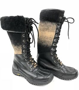 8618923cea1 Details about UGG Australia Adirondack Tall Snow Boot Black Wool 1013508  Waterproof Size 5 7