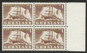 Greenland-1950-60-Polar-ship-1K-Brown-36-F-VF-NH-Marginal-BLOCK-CV-64-00