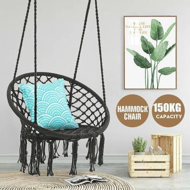 Macrame Swing Hammock Chair Hanging Cotton Rope Beige Indoor