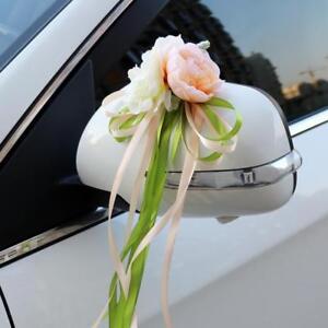 2pcs Band Blumen Hochzeit Auto Spiegel Türgriffe Dekorationen