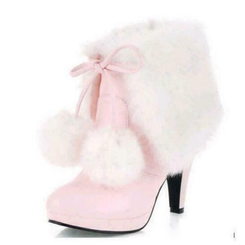 Details about  /Women Mid Calf Boot Pull on High Heel Lace-up Fur Lined Ankle Boots Shoes Big SZ