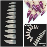 Stiletto Natural Half Cover Claw Nail Tips Fast Ship You Choose Qty
