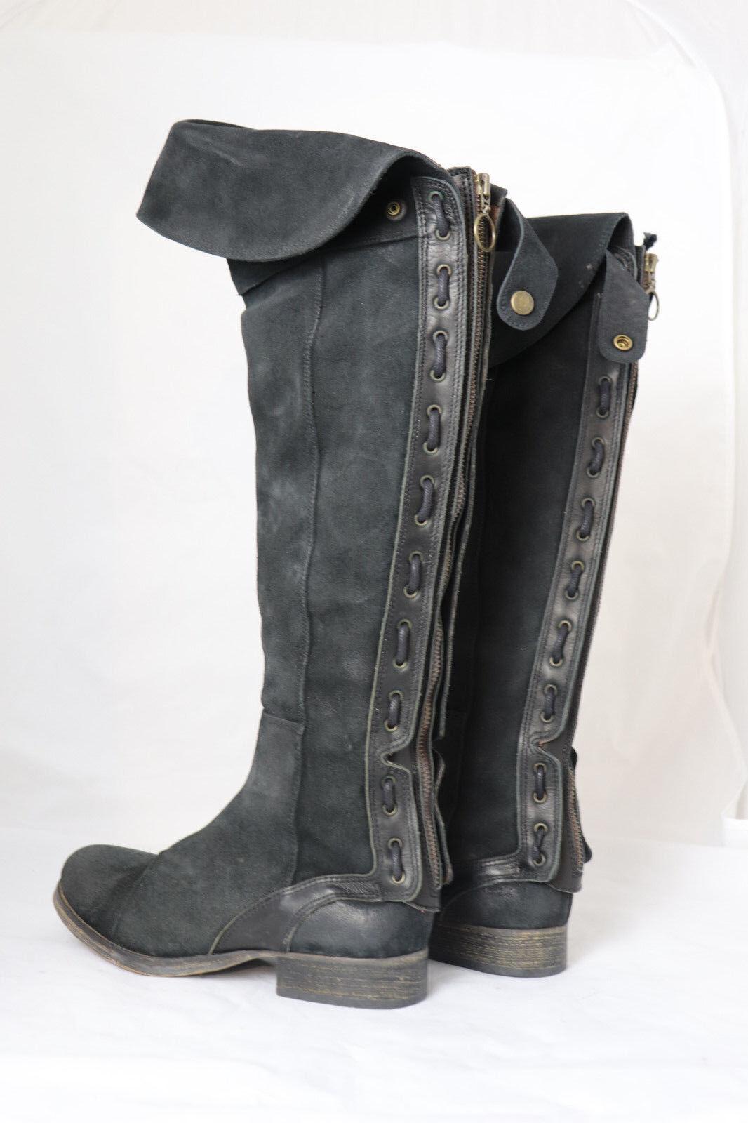 Xyxyx Stiefel Langschaft overknees schwarz Leder neu 37