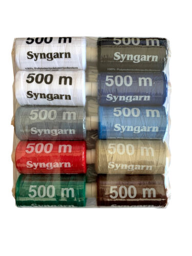 10 x hilo 500m syngarn máquina coser syngarn multicolor o negro 0,0009 €//m