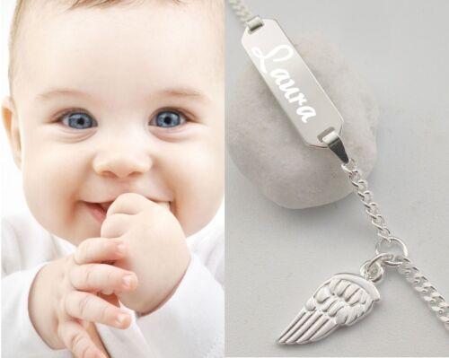 Engel Baby ident Armkette Armband Wunsch Gravur Name Echt Silber Engelsflügel