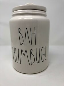 Rae-Dunn-By-Magenta-BAH-HUMBUG-Christmas-Canister-Large-With-LL-NEW