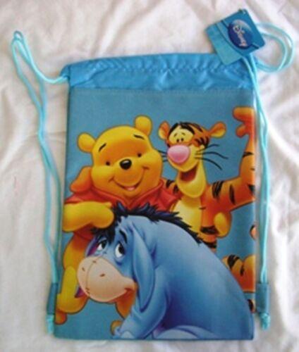 Blue Winnie the Pooh Drawstring Backpack Sling Tote Disney Kid School Gym Bag