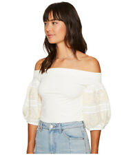 7a1627254a824 Free People Ivory Knit Top Rock With It Embroidered off Shoulder Size   L
