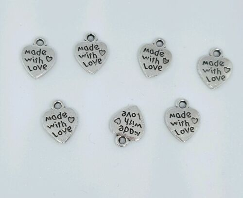 50 x Made With Love Heart Charm for Jewelry Making Craft Bracelet//Pendant