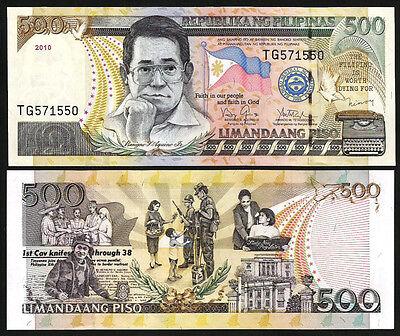 PHILIPPINES 500 PISO 2010 UNC P-196