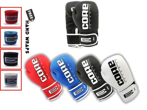 Core Boxing Gloves with Free Hand wrap Adult Training Boxing Gloves