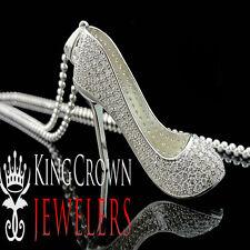 Ladies 10K White Gold Silver Red Bottom Stiletto Heel Lab Diamond Charm Pendant