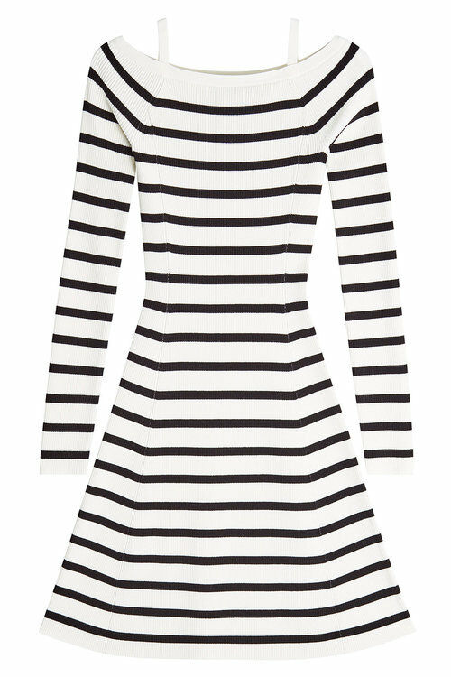 THEORY Pirellia PRosacco Striped Off the Shoulder Sweater Dress L Large