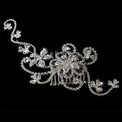 Boutique 7.4'' Crystal Hair Comb Rhinestone Flower Bridal Hair Piece Silver Tone