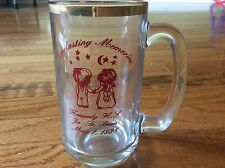 "Vtg Kennedy Prom wine beer mug cup Tankard with gold rim Prom Jam Jar 5.5"" tall"