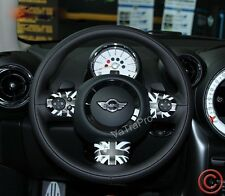 FOR MINI COOPER COUNTRYMAN STEERING WHEEL COVER UNION JACK STYLE BLACK FLAG