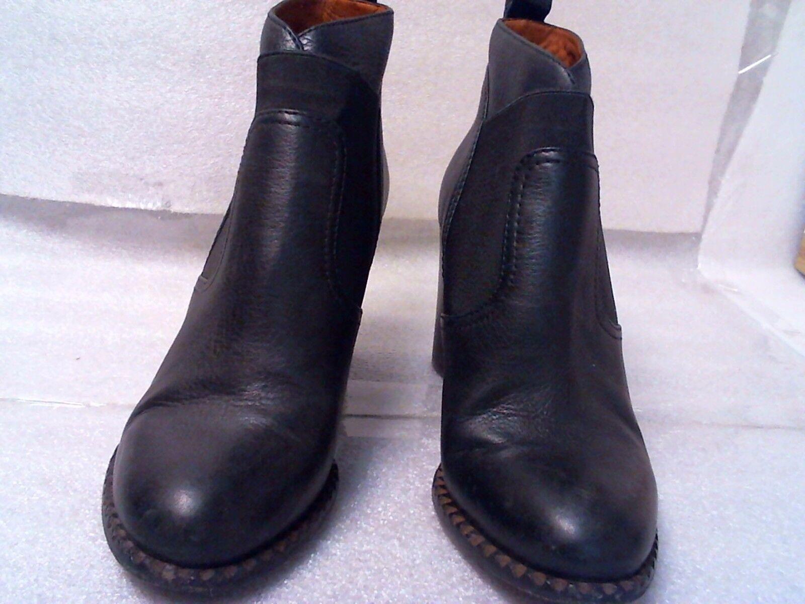 Pre-owned Marc By Marc Jacobs Cuero Negro botas al Tobillo Tacón de madera apilada 8.5 M