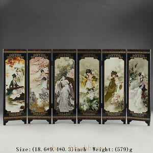 CHINA-LACQUER-WARE-OLD-HAND-PAINTING-BELLE-COLLECTIBLES-BEAUTY-SCREEN-NICE-FOLD