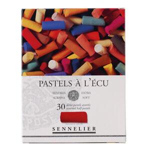 SENNELIER-Extra-weiche-Pastellkreiden-30-halbe-Kreiden-gemischtes-Sortiment